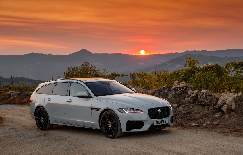 Photo wallpaper sunset, Jaguar, universal, Sportbrake, 2017, XF S