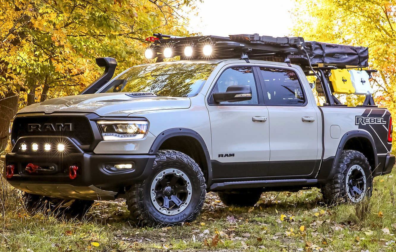 Photo wallpaper car, machine, forest, lights, tuning, SUV, side, pickup, tuning, Ram, Ram 1500, Ram 1500 Rebel …
