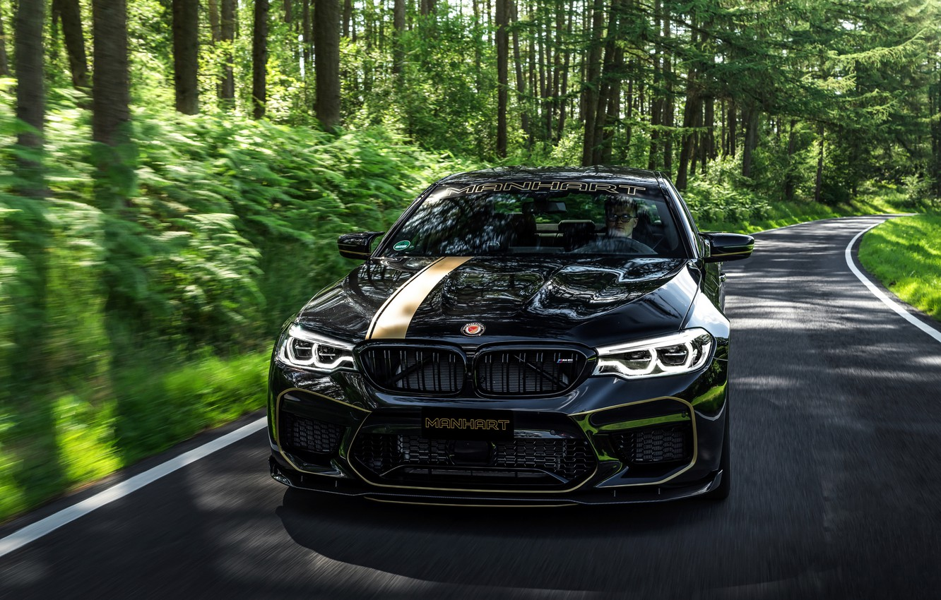 Photo wallpaper road, forest, BMW, 2018, Biturbo, Manhart, M5, V8, F90, 4.4 L., 723 HP, MH5 700