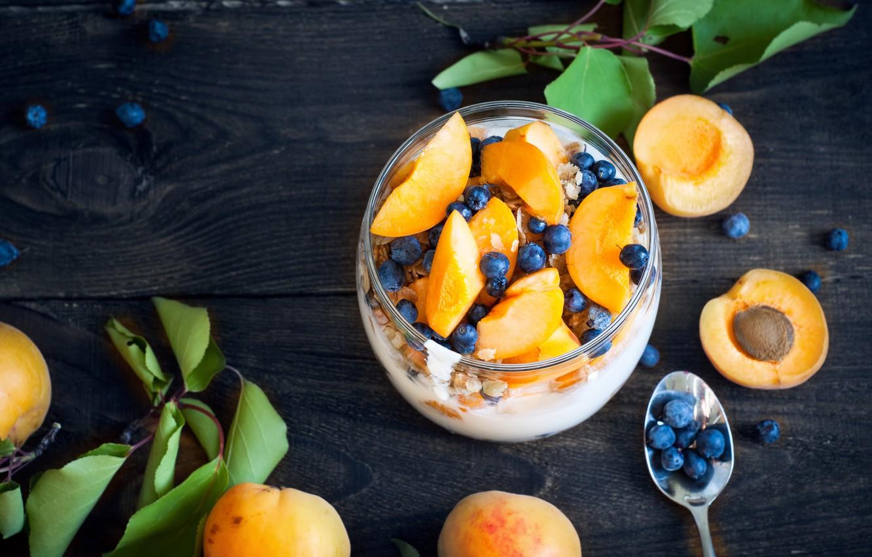 Photo wallpaper berries, Breakfast, dessert, apricots, blueberries