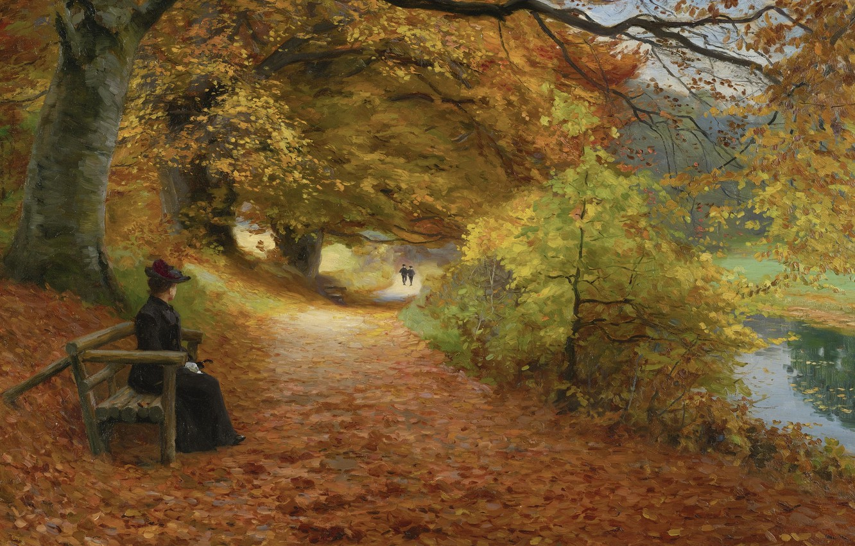 Photo wallpaper Danish painter, Danish painter, Forest road in autumn, Wooded path in autumn, Hans Andersen Brendekilde, …