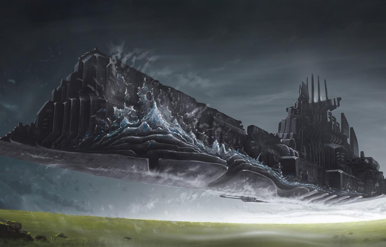 Photo wallpaper Space, Flight, Ship, Fantasy, Art, Spaceship, Fiction, Spaceship, Vehicles, Giant, Science Fiction, Spacecraft, Dmitrii Ustinov, …