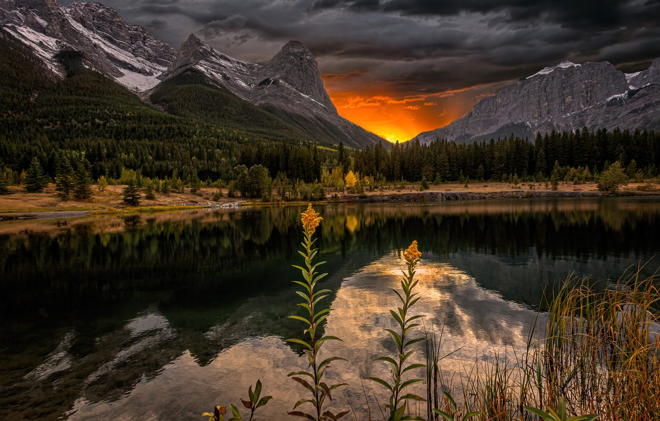 Photo wallpaper landscape, sunset, mountains, clouds, nature, lake, reflection, rocks, shore, Canada, grass, forest, reserve, Perry Hoag