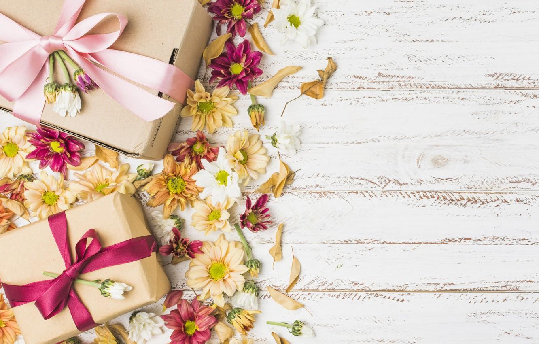 Photo wallpaper flowers, gift, colorful, chrysanthemum, flowers, gift box