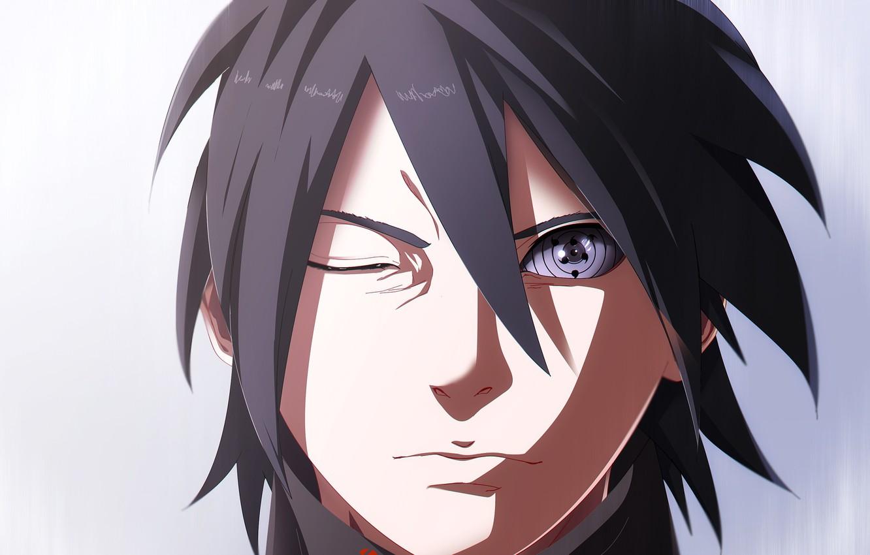 Photo wallpaper look, anime, art, guy, Naruto, Sasuke Uchiha, Rinnegan