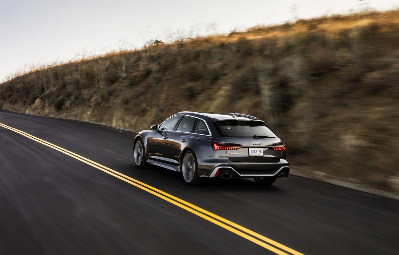 Photo wallpaper asphalt, Audi, markup, speed, universal, RS 6, 2020, 2019, dark gray, V8 Twin-Turbo, RS6 Avant