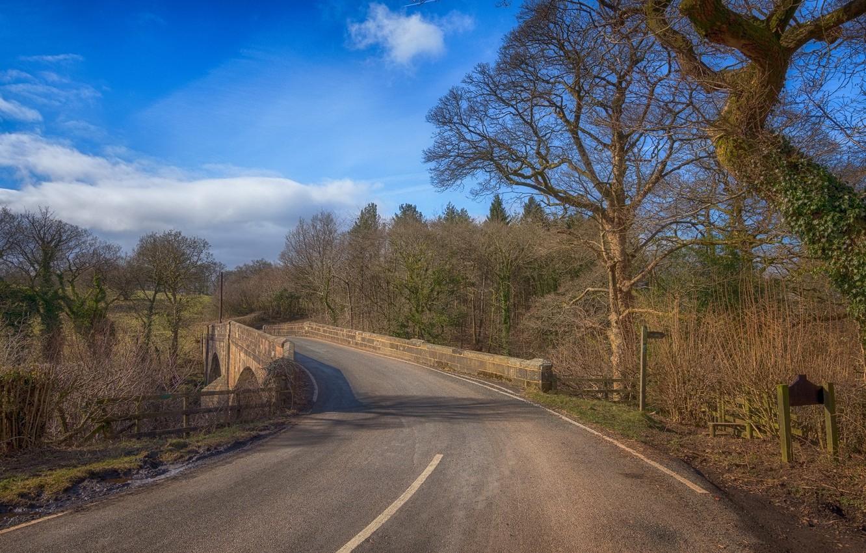 Photo wallpaper road, landscape, bridge, nature, beauty