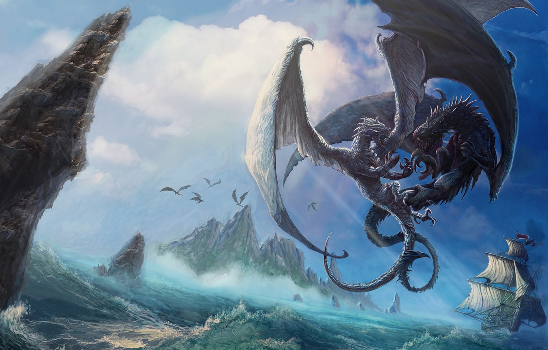 Photo wallpaper The ocean, Sea, Dragon, Monsters, Rocks, Ship, Battle, Dragon, Art, Art, Dragons, Fiction, Characters, Walter …