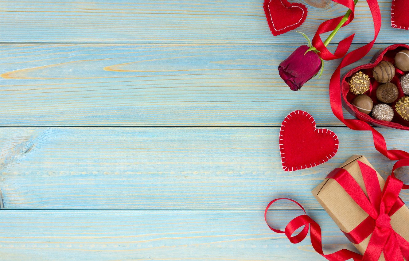 Photo wallpaper gift, chocolate, roses, candy, hearts, red, red, love, wood, flowers, romantic, hearts, chocolate, valentine's day, …