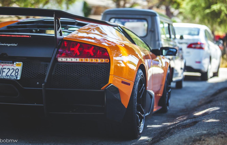 Photo wallpaper Lamborghini, Murcielago, orange, back, LP 670-4
