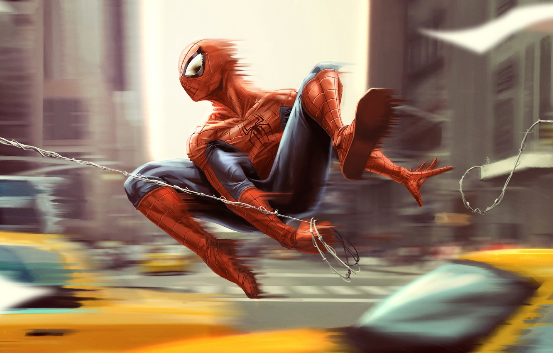 Photo wallpaper machine, the city, fiction, figure, speed, home, web, art, costume, superhero, comic, Spider-man, MARVEL, Spider-Man, …