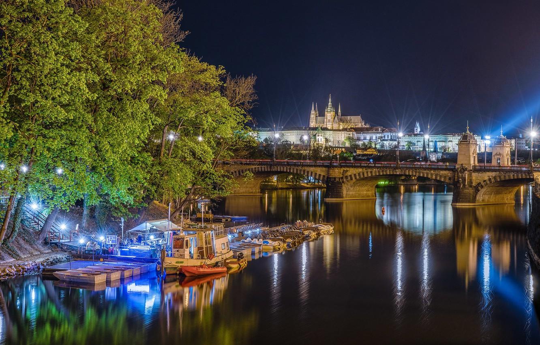 Photo wallpaper lights, photo, island, home, the evening, Prague, Slavic