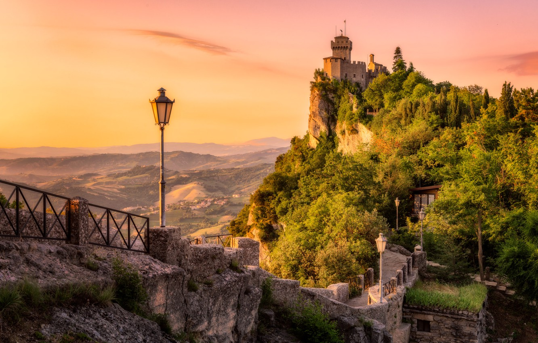 Wallpaper Road Landscape Mountains Nature Dawn Morning Lights Fortress San Marino Images For Desktop Section Pejzazhi Download