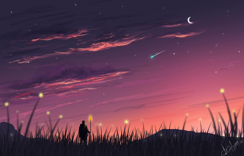 Photo wallpaper Sunset, The sky, Stars, Art, Art, Concept Art, A month, Environments, by Omer Gul, Shepherd, …