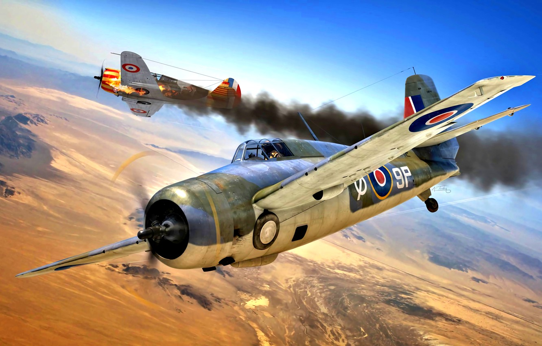 Photo wallpaper Grumman, Royal Navy, Hawk 75, Martlet Mk.IV, 888 Sqn