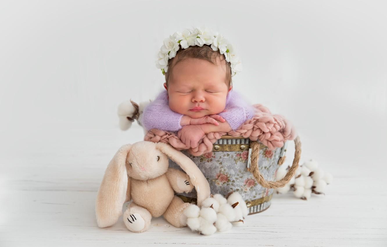 Photo wallpaper girl, cotton, light background, wreath, baby, the barrel, plush rabbit