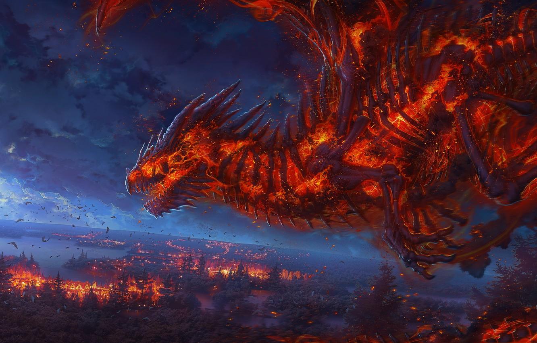 Photo wallpaper fire, moon, fantasy, underworld, night, art, clouds, fantastic, painting, dragon, paint, myth, creature, DeviantArt, artistic, …