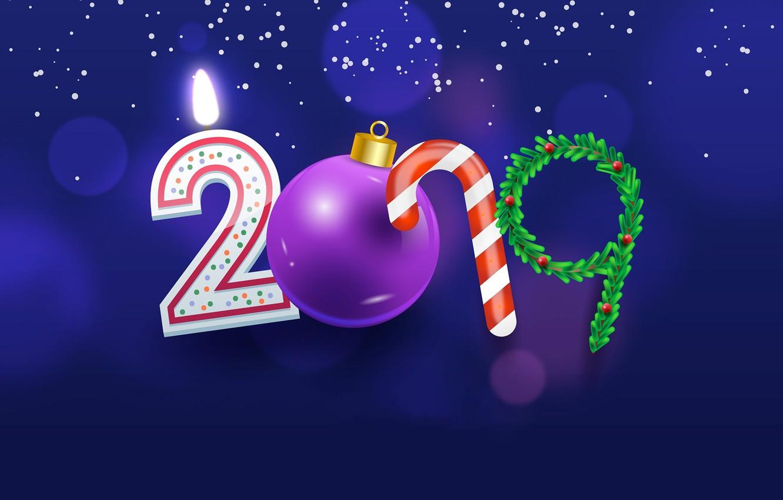 Photo wallpaper ball, figures, New year, 2019