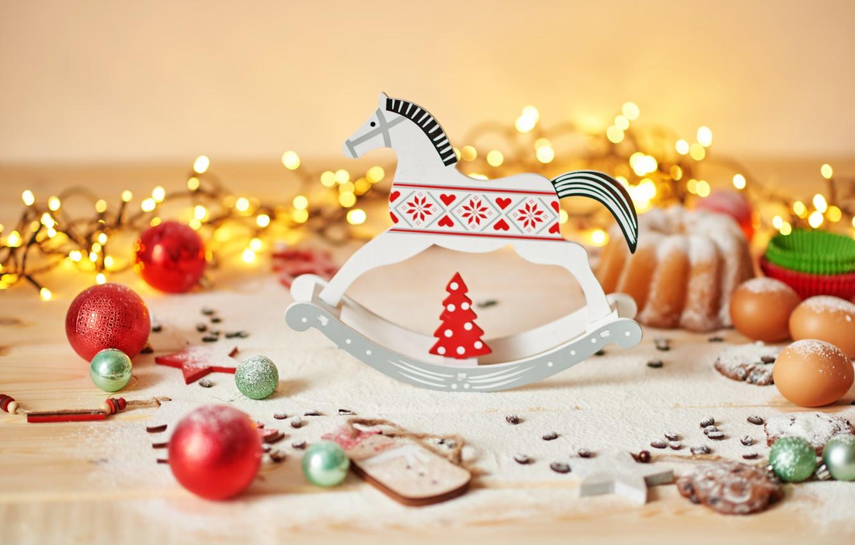 Photo wallpaper balls, Christmas, cookies, decoration, garland, decor, cupcake, horse
