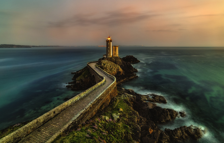 Photo wallpaper road, sea, the sky, light, bridge, lights, green, stones, wall, overcast, rocks, shore, vegetation, tile, …