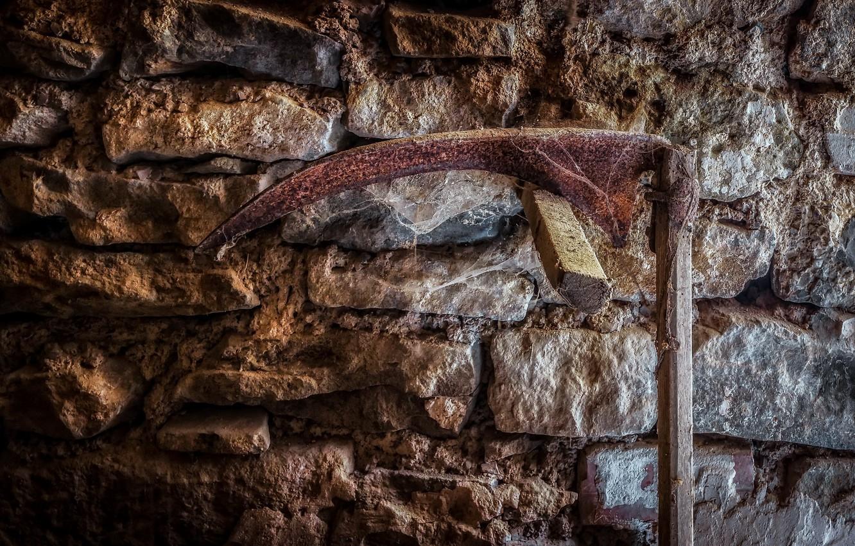 Photo wallpaper wall, hammer, naturalism