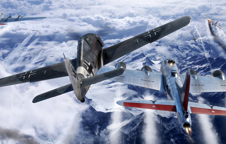 Photo wallpaper USAF, B-17, B-17G, Air force, Fw-190, Fw.190A-8, Combat aircraft