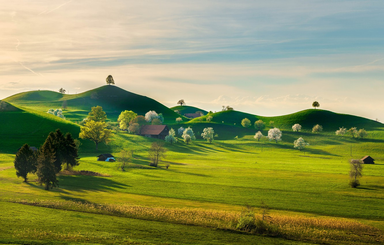 Photo wallpaper greens, the sky, grass, the sun, clouds, trees, nature, hills, field, beauty, Switzerland, space, houses, …