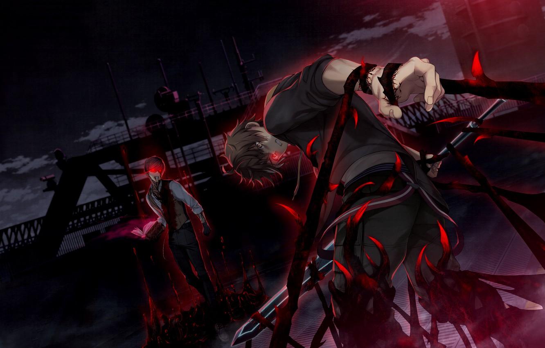 Wallpaper Night Magic Sword Battle Book Guys Games Anime