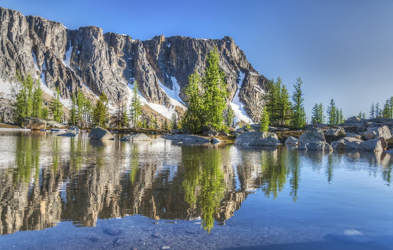 Photo wallpaper the sky, landscape, nature, rock, lake, reflection, mountain, beauty, nature