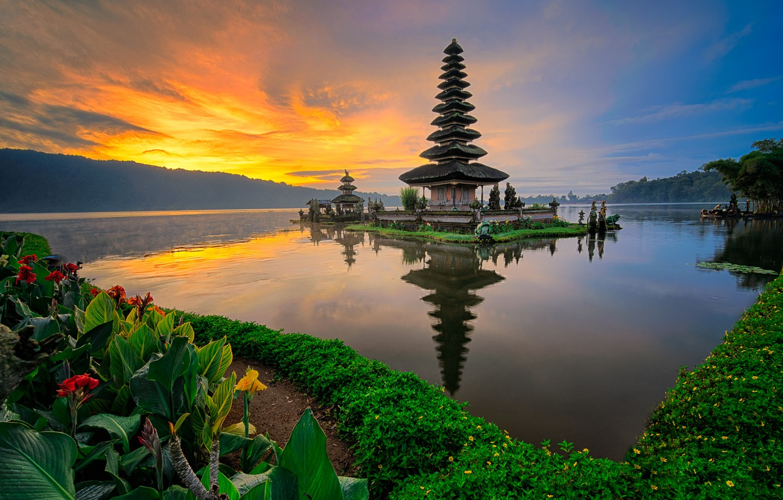 Photo wallpaper water, sunset, nature, Indonesia, seascape, Храм Улун Дану