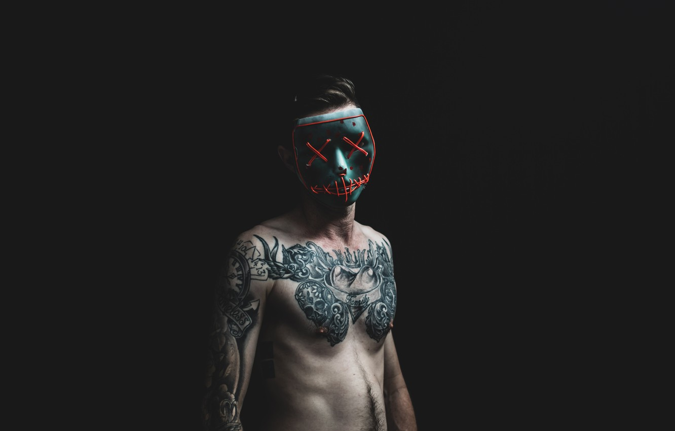 Photo wallpaper Pose, Mask, Tattoo, Male