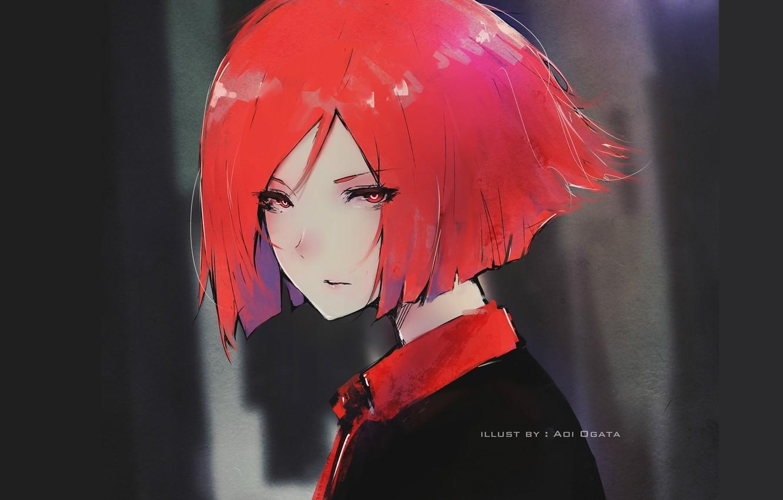 Photo wallpaper look, face, haircut, girl, the dark background, red hair, portrait of a girl, Aoi Ogata