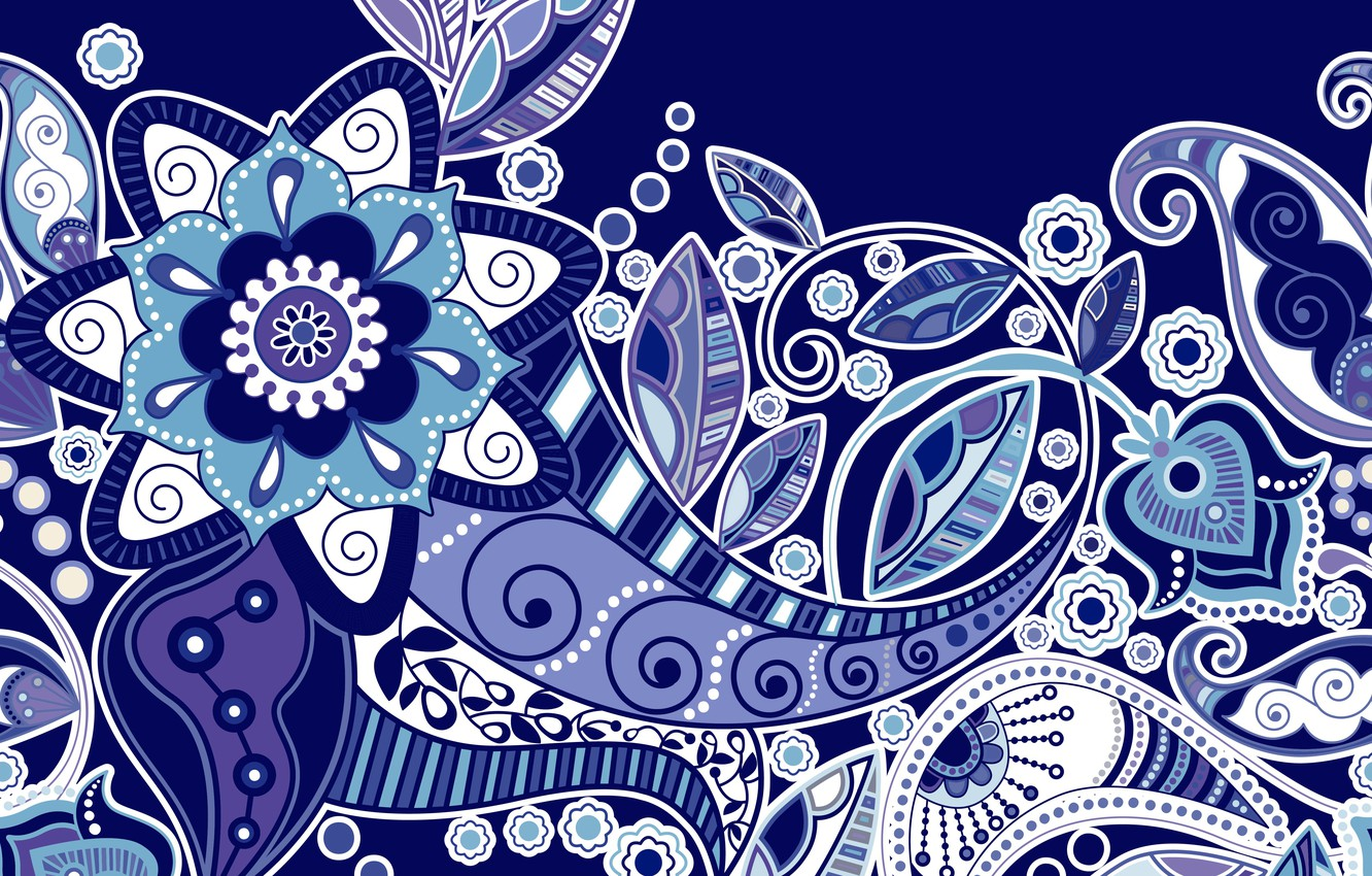 Photo wallpaper flowers, texture, ornament, blue background