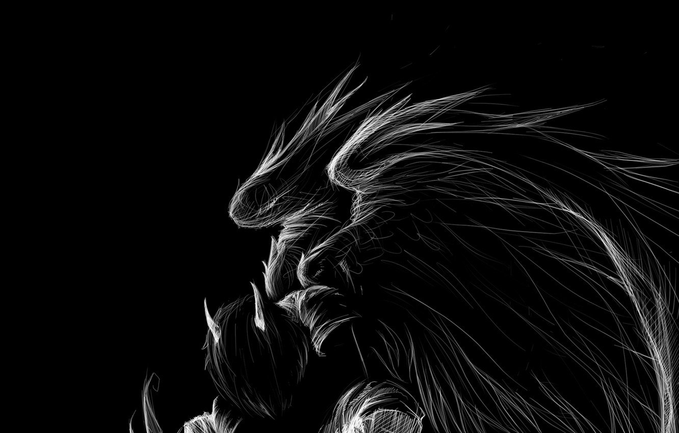 Photo wallpaper black and white, the demon, fallen angel, Horny, in the dark, black wings