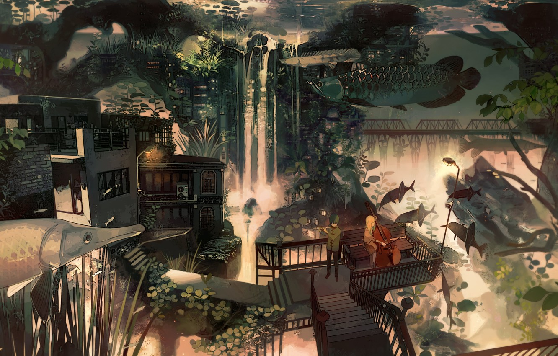 Photo wallpaper bridge, house, waterfall, plants, ladder, cello, girl, guy, flute, Duo, veranda, by Kukka, фантастическая картина