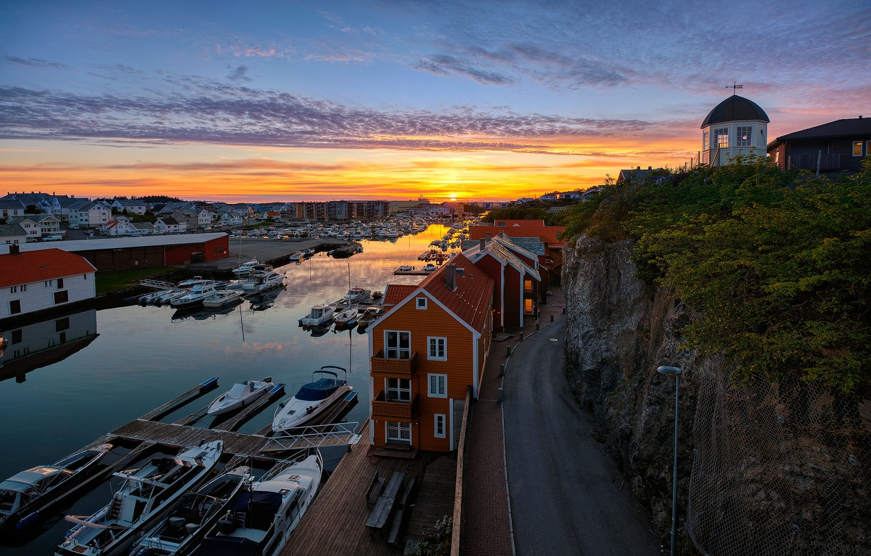 Photo wallpaper boats, the evening, Norway, Haugesund