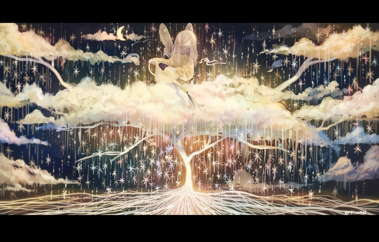 Photo wallpaper stars, clouds, tree, fairy, Crescent