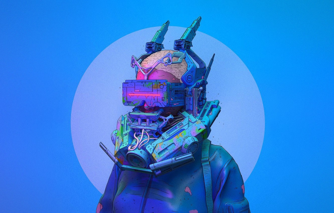 Photo wallpaper Color, Glasses, Style, Head, Mask, Fantasy, Style, Color, Fiction, Fiction, Illustration, Technology, Sci-Fi, Cyberpunk, Science …
