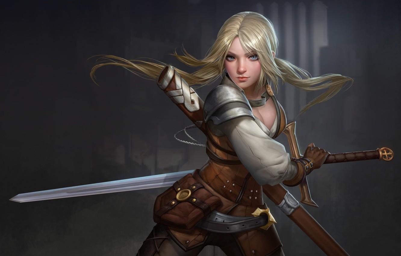 Photo wallpaper look, weapons, hair, Girl, sword