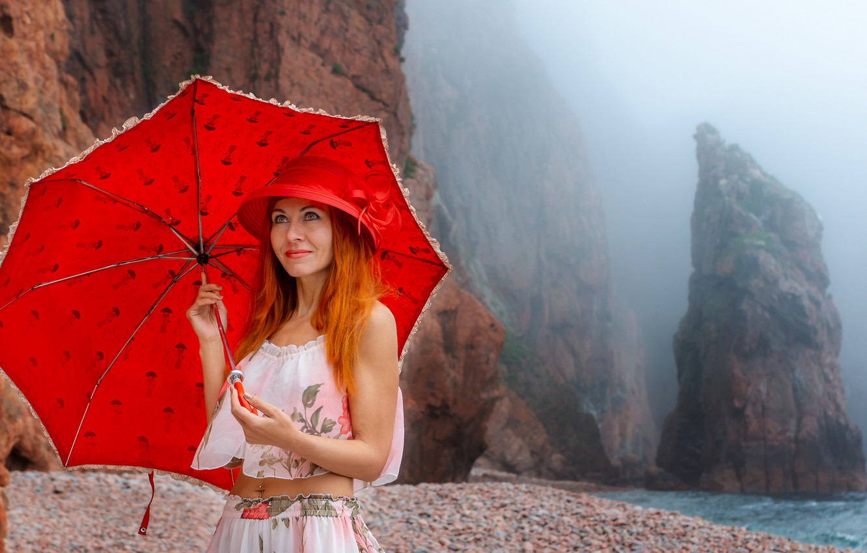 Photo wallpaper sea, girl, fog, rocks, shore, umbrella, makeup, red, Юрий Ященко