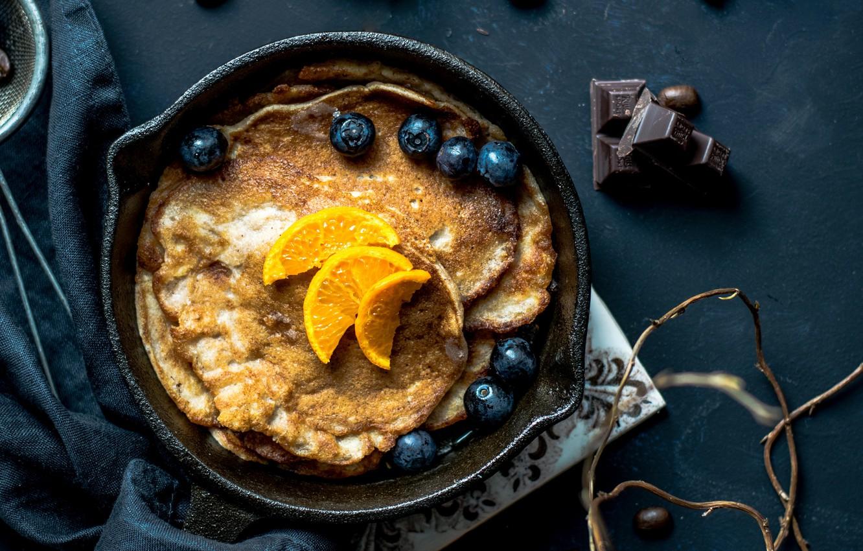 Photo wallpaper food, fruit, chocolate, berries, breakfast, pancakes, blueberries