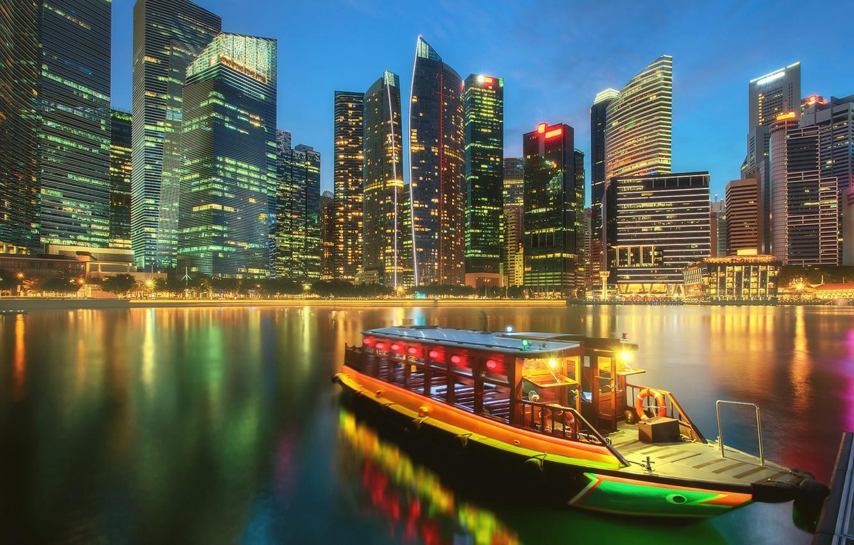 Photo wallpaper boat, building, home, Bay, Singapore, night city, skyscrapers, Singapore, Marina Bay