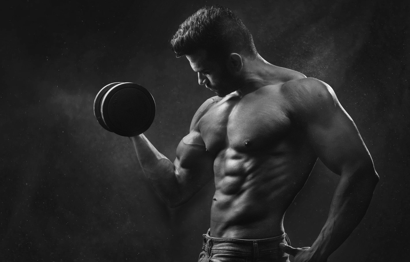 Photo wallpaper Body, Dumbbell, Athlete, Black And White, Jock