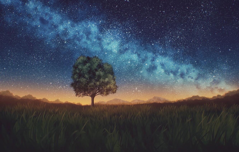 Photo wallpaper the sky, night, nature, tree, the milky way