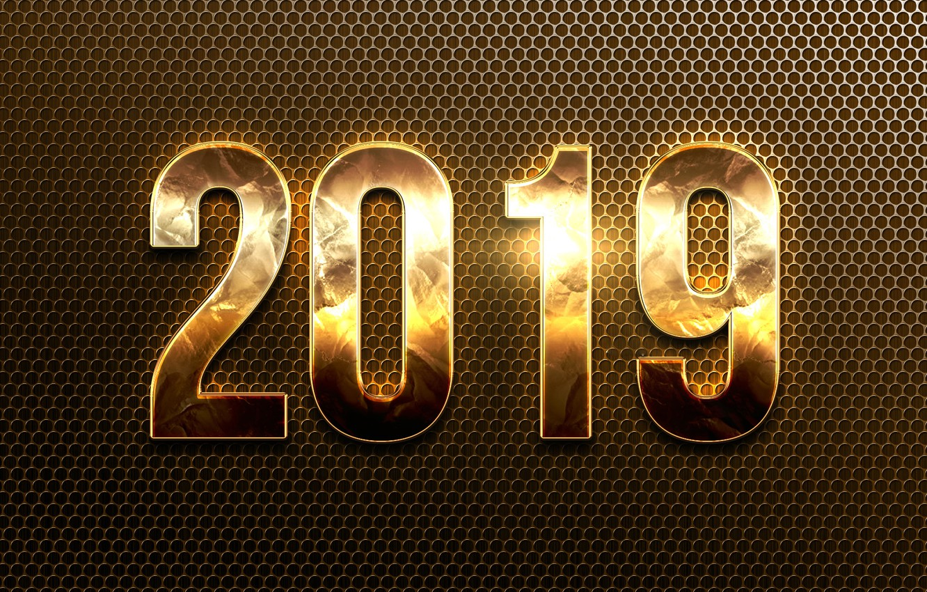Photo wallpaper figures, New year, gold, 2019