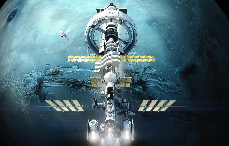 Photo wallpaper Station, Planet, Space, Fantasy, Art, NASA, Space, Art, Spaceship, Planet, Station, Fiction, Illustration, Spaceship, Sci-Fi, …