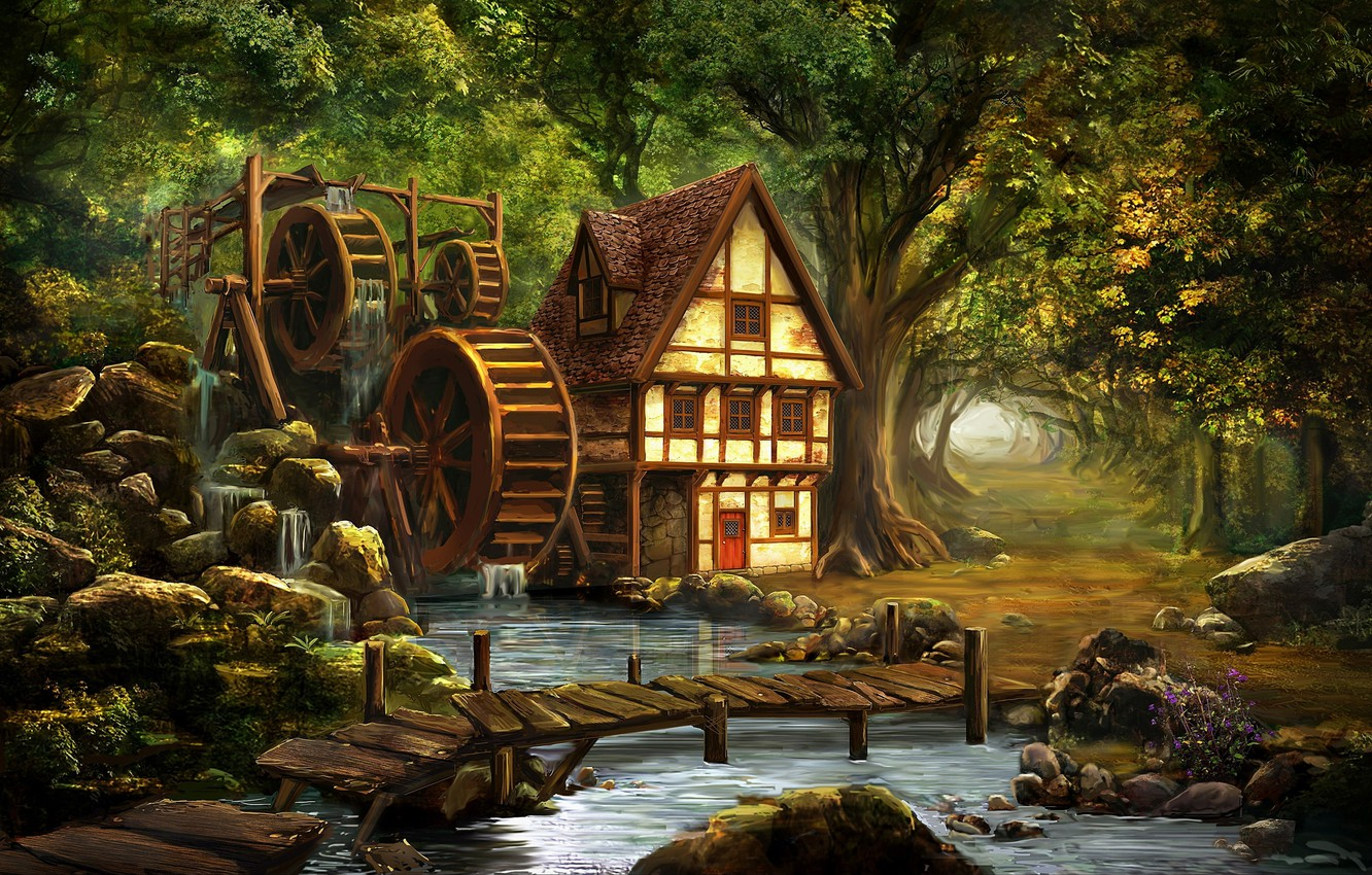 Photo wallpaper trees, nature, stones, rendering, river, the bridge, water mill, fairy forest, forest house