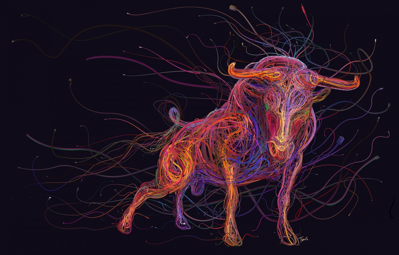 Photo wallpaper colorful, animals, art, painting, abstraction, rendering, digital art, bull, drawing, wires, cables, computer cables