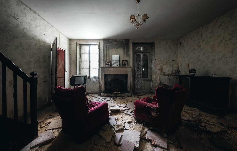 Photo wallpaper room, chair, TV, fireplace, naturalism
