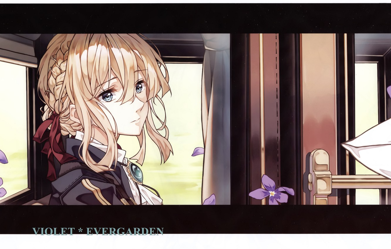 Photo wallpaper face, the door, the car, gloves, window, violet, brooch, Violet Evergarden, by Akiko Takase